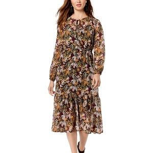 Maison Jules Large Floral A-Line Midi Dress Black